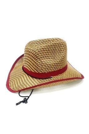 Pandoli Bağcıklı Yetişkin Hasır Kovboy Şapkası Kahve Krem Renk 0