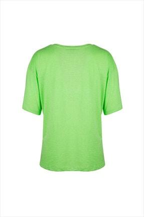 AYYILDIZ Kadın Fosforlu Yeşil Oversıze Tunik 59519 1