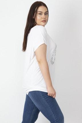 Şans Kadın Beyaz Pul İşli Bluz 65N16554 3