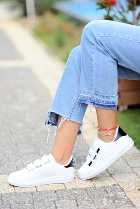 Pembe Potin Kadın Beyaz Siyah Ayakkabı 1