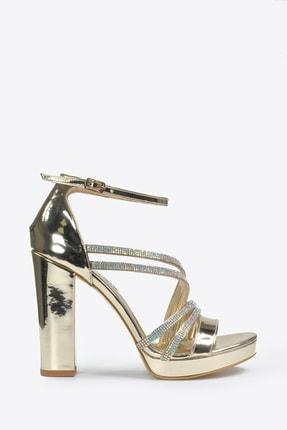 Kadın Altın Klasik Topuklu Ayakkabı VZN20-041Y resmi