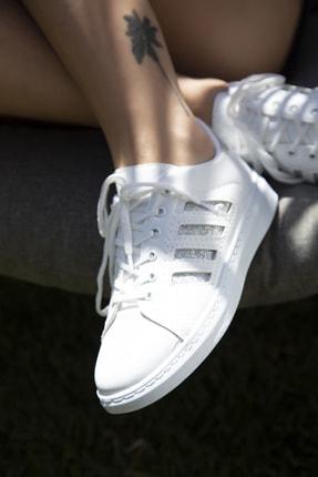 Du Jour Paris Beyaz Gümüş Kadın Spor Ayakkabı 4000-19-101001 1