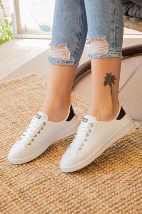 Ayakkabı Modası Beyaz Siyah Kadın Ayakkabı M4000-19-110003R 1