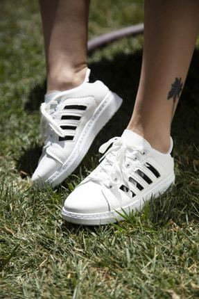 Ayakkabı Modası Beyaz-Siyah Kadın Sneaker 4000-19-101002 2