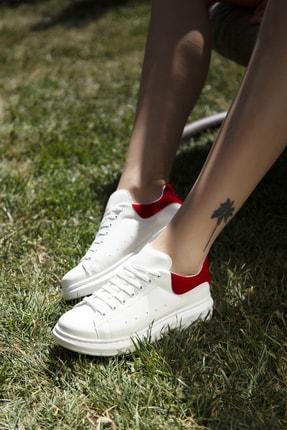 Ayakkabı Modası Beyaz-Kırmızı Kadın Casual Ayakkabı 5007-20-110001 1