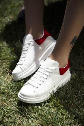 Ayakkabı Modası Beyaz-Kırmızı Kadın Casual Ayakkabı 5007-20-110001 2