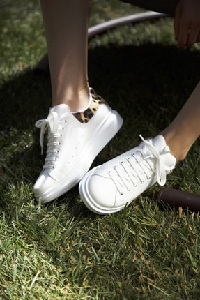 Ayakkabı Modası Beyaz-Leopar Kadın Casual Ayakkabı 5007-20-110001 2