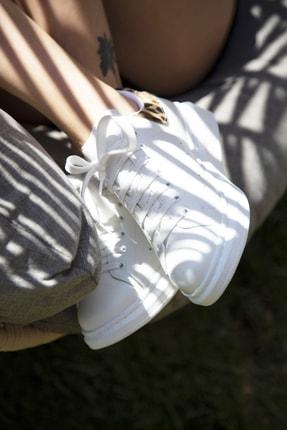 Ayakkabı Modası Beyaz-Leopar Kadın Casual Ayakkabı 5007-20-110001 4