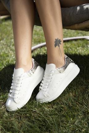 Ayakkabı Modası Beyaz-Yılan Kadın Casual Ayakkabı 5007-20-110001 1