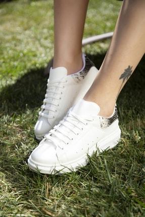Ayakkabı Modası Beyaz-Yılan Kadın Casual Ayakkabı 5007-20-110001 2