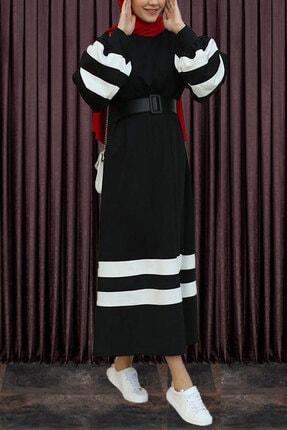 modaroyal Tesettür Elbise Balon Kol Şeritli Siyah 1