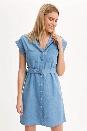 Defacto Kadın Mavi Kemer Detaylı Slim Fit Jean Elbise R0364AZ.20SM.NM63 0