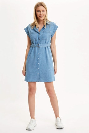 Defacto Kadın Mavi Kemer Detaylı Slim Fit Jean Elbise R0364AZ.20SM.NM63 1