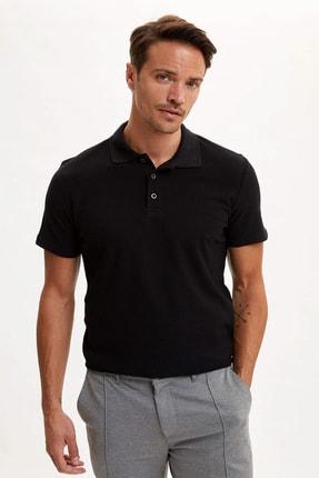 Erkek Siyah Polo Yaka Kısa Kollu Regular Fit T-Shirt R3438AZ.20SM.BK27