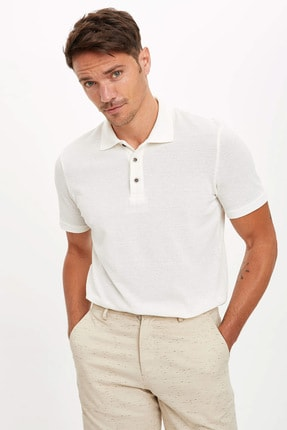 Defacto Erkek Bej Polo Yaka Kısa Kollu Regular Fit T-Shirt 0