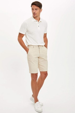 Defacto Erkek Bej Polo Yaka Kısa Kollu Regular Fit T-Shirt 1