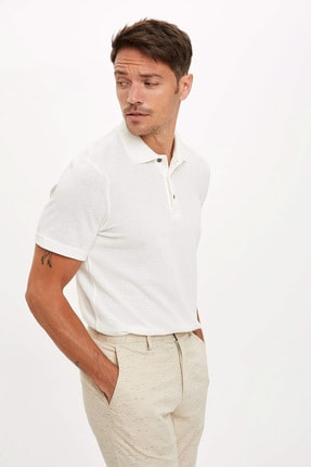 Defacto Erkek Bej Polo Yaka Kısa Kollu Regular Fit T-Shirt 2