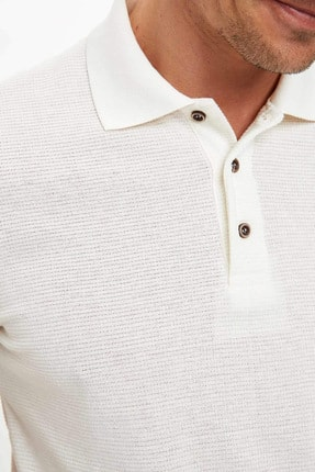 Defacto Erkek Bej Polo Yaka Kısa Kollu Regular Fit T-Shirt 3
