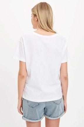 Defacto Kadın Beyaz Güvende Kal Bisiklet Yaka Regular Fit T-shirt S1413AZ.20SM.WT34 1