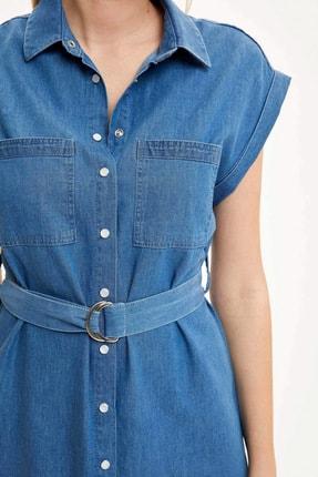 Defacto Kadın Mavi Kemer Detaylı Slim Fit Jean Elbise R0364AZ.20SM.NM28 2