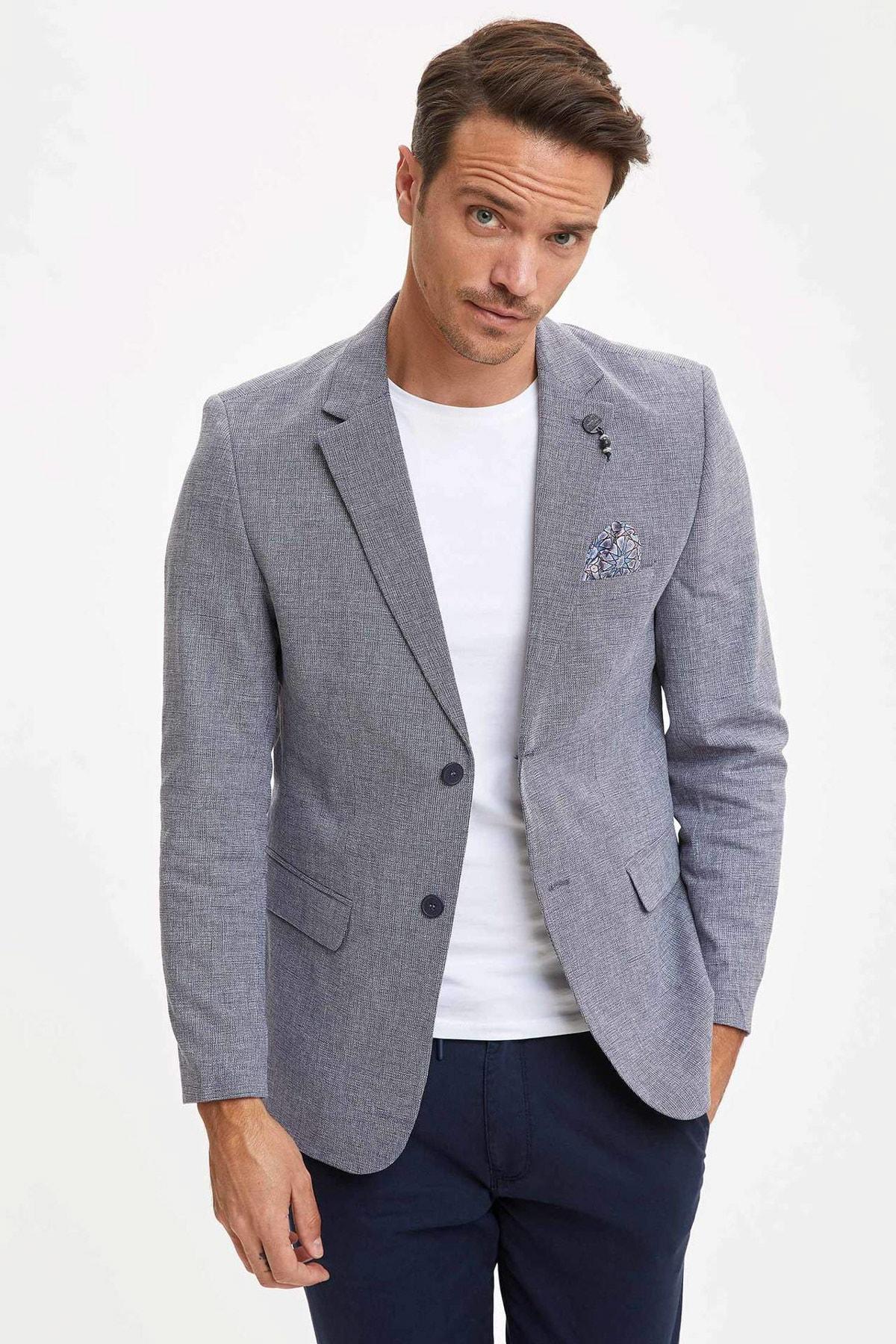 Erkek Lacivert Modern Fit Blazer Ceket N6033AZ.20SM.NV64