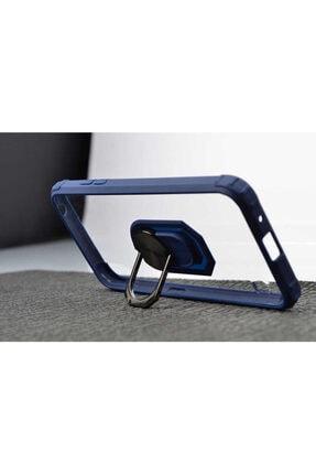 Samsung Galaxy A01 Kılıf Yüzüklü Stand Olabilen Ortası Şeffaf Kapak(lacivert)+ekran Koruyucu Cam 1