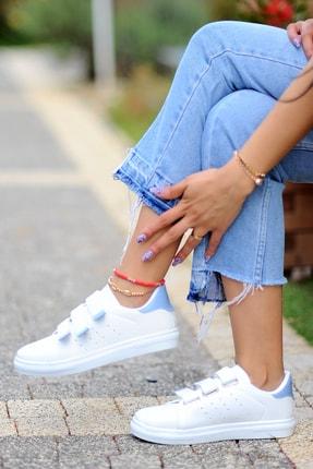 Pembe Potin Kadın Beyaz Mavi Ayakkabı 0