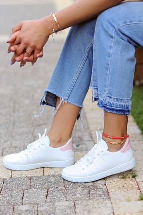 Pembe Potin Kadın Beyaz Pembe Ayakkabı 1