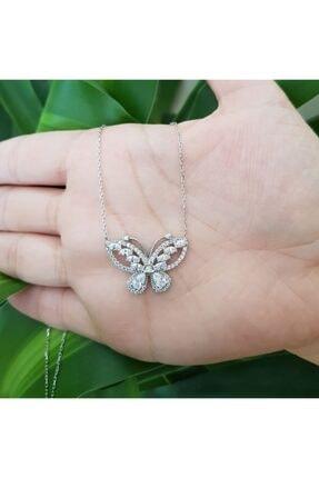 CNG Pırlanta Modeli Taşlı Kelebek Gümüş Bayan Kolye 0