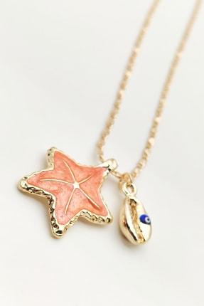 Lolita Takı Kadın Deniz Yıldızı Kolye Oranj Renk 0