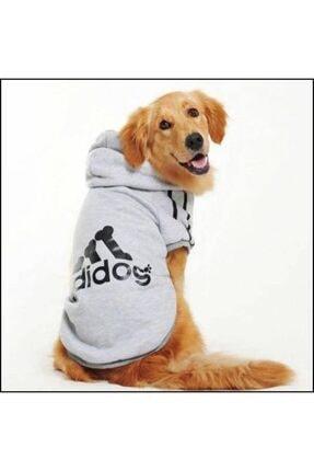 Kemique Gri Kapşonlu Adidog Sweatshirt Büyük Köpekler Için 0