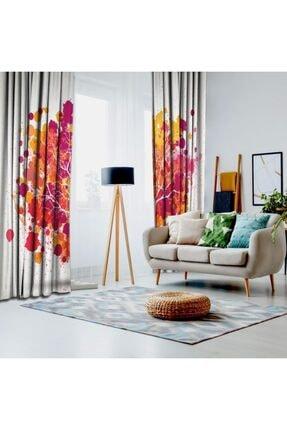 Henge Home Pembe Turuncu Ağaç Sulu Boya Etkili Renkli Fon Perde 1