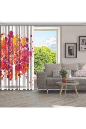 Henge Home Pembe Turuncu Ağaç Sulu Boya Etkili Renkli Fon Perde 4