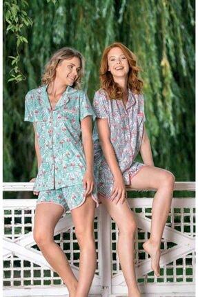 Yeni İnci Bpj1544 Kadın Önden Düğmeli Üçlü Pijama Takım - Turkuaz 1
