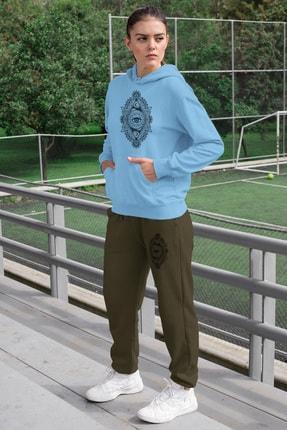 Angemiel Wear Üçgen Motifleri Ay Ve Göz Kadın Eşofman Takımı Mavi Kapşonlu Sweatshirt Yeşil Eşofman Altı 0
