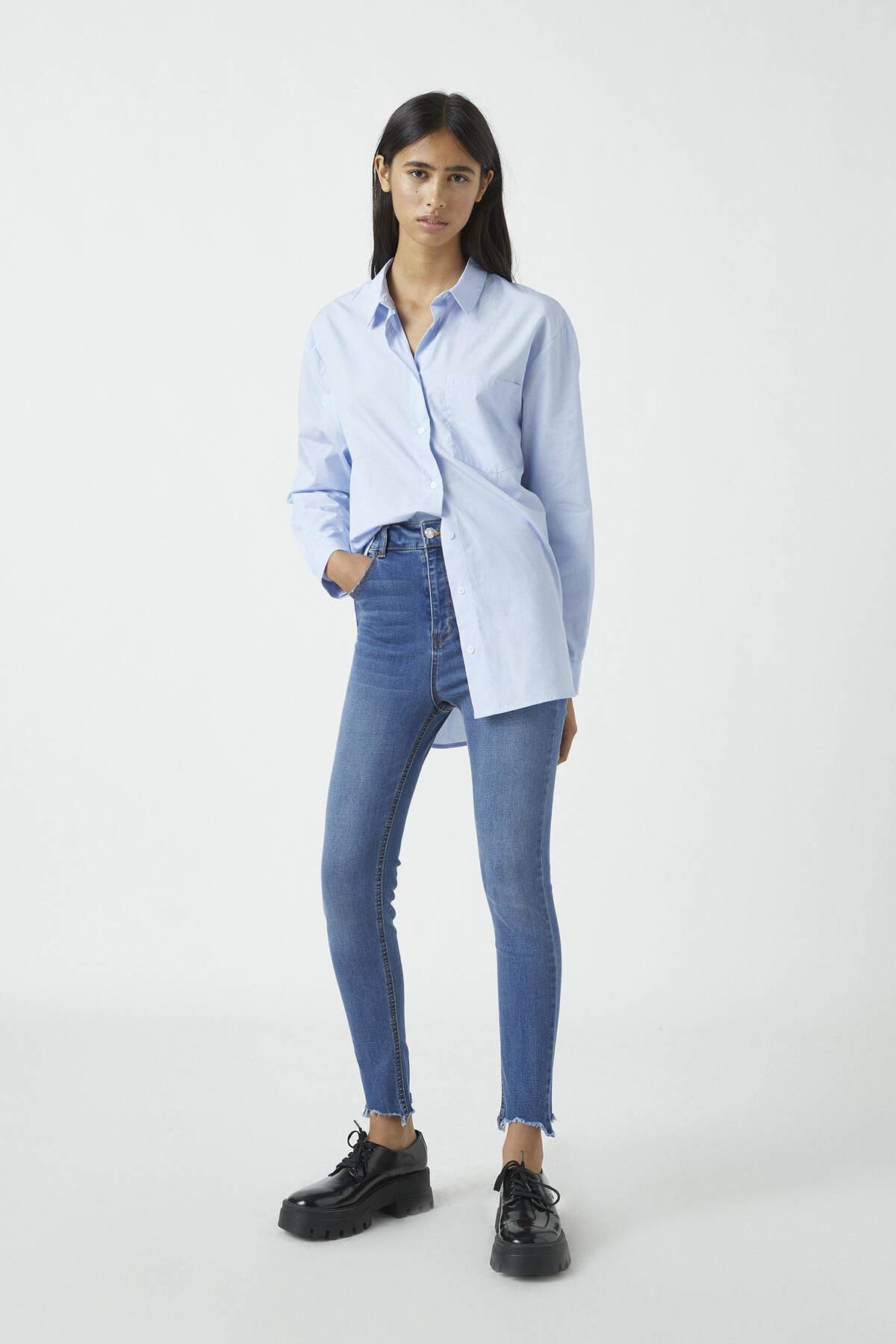 Pull & Bear Kadın Orta Mavi Yüksek Bel Skinny Fit Kapri Jean 09689301 0