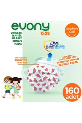 Evony Elastik Kulaklı Çocuk Kids Maske 160 Adet 0