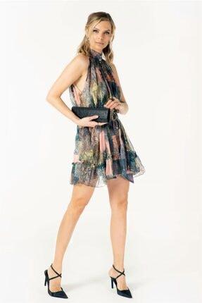 VorNişantaşı Tasarım Kuşaklı Patchwork Desenli Ipek Mini Elbise 1