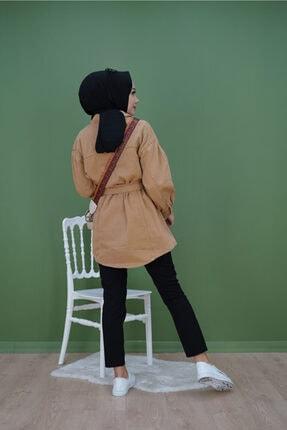 KAMİL KESKİN Kadın Kahverengi Kuşaklı Kot Ceket 2