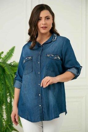 Rmg Kadın Mavi Taş Detaylı Büyük Beden Tensel Gömlek 2