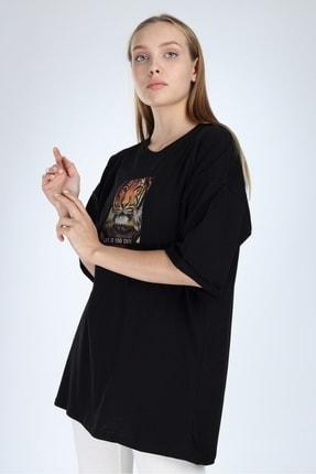 Millionaire Kadın Siyah To Wear Boring Baskılı Oversize T-Shirt 1