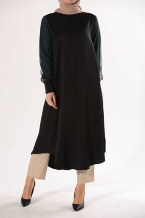 Ekrumoda Kadın Siyah Kolu Tüllü Tunik 4