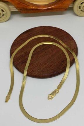 Artuklu Telkari Italyan Yassı Ezme Zincir Kolye Yaldızlı Altın-gold-sarı Kaplama 925 Ayar Kadın Gümüş 40 Cm 0