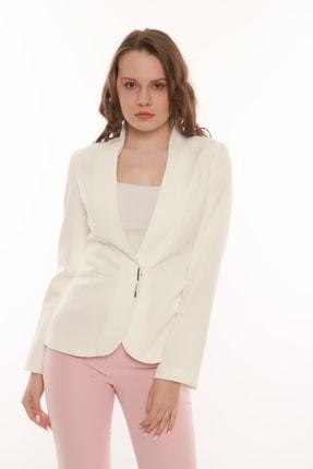 MANGOSTEEN Kadın Beyaz Çıtçıtlı Klasik Ceket 3