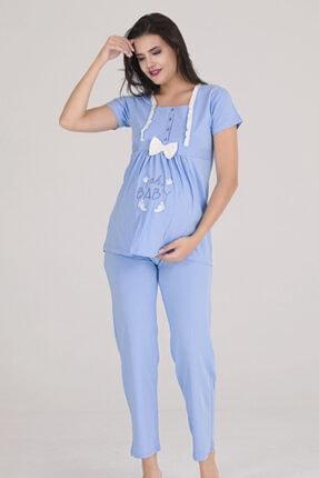 Sevil Giyim Kadın Mavi 4 Düğmeli Fiyonklu Nakışlı Hamile Pijama Takımı 0