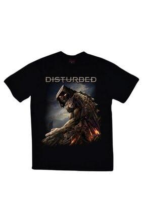 fame-stoned Unisex Siyah Disturbed Baskılı T-shirt 0