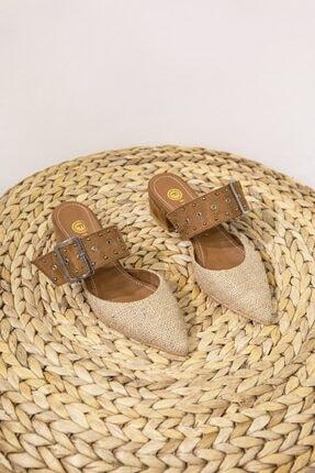 Straswans Kadın Taba Hasır Topuklu Ayakkabı 1