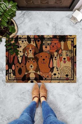 Evsebu Somurtkan Ve Gülen Köpekler Dekoratif Kapı Önü Paspası 0