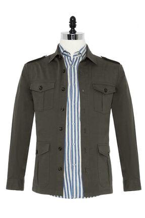 Germirli Erkek Haki Tailor Fit Ceket Gömlek 0