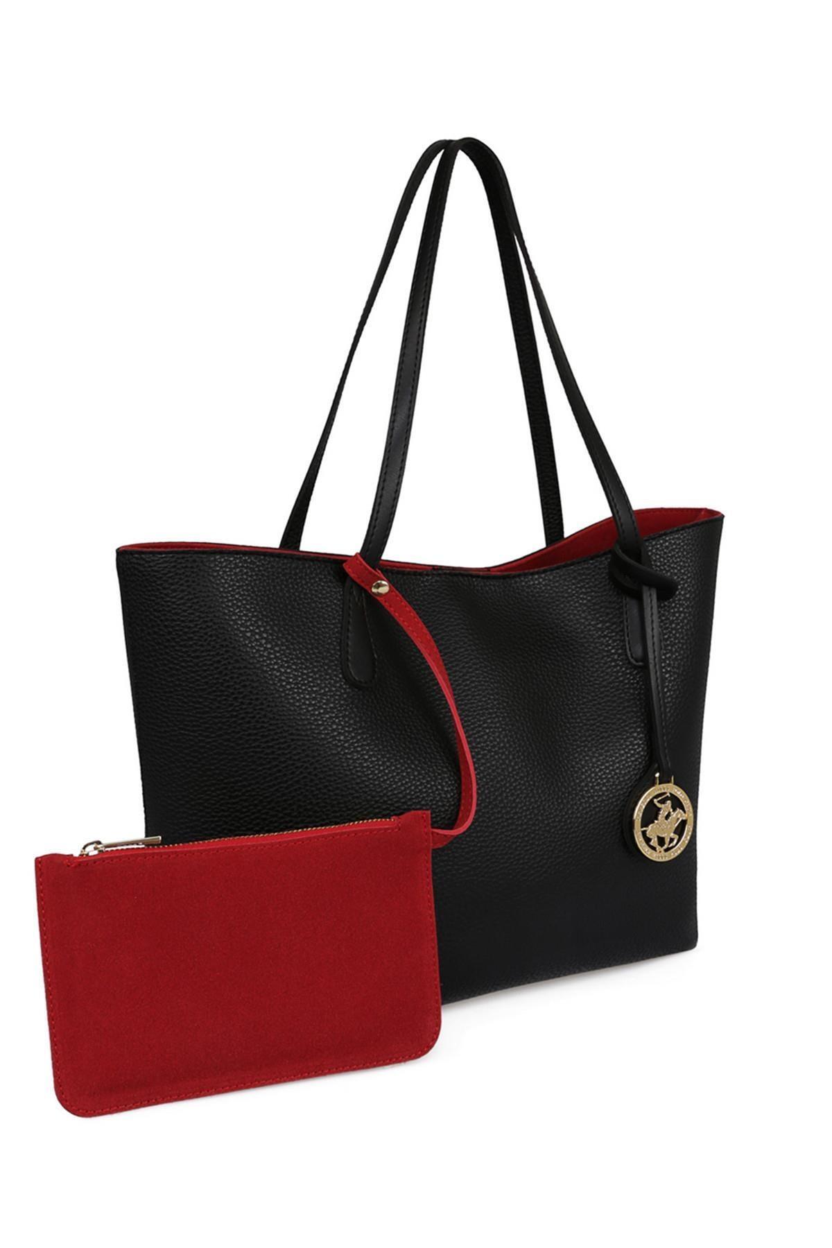 Beverly Hills Polo Club Kadın Tote Çanta Siyah, Kırmızı 0